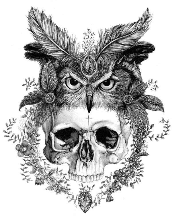 Skull in the owl headdress